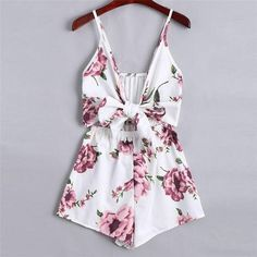 48b49cb650 Women sexy Deep V-Neck Floral Printed Playsuits Sleeveless Back Bowtie  Sling Looseuotelab Dress Brands