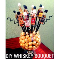 DIY Liquor Bouquet with Candy! (All items except chocolate and liquor are from Michaels.)