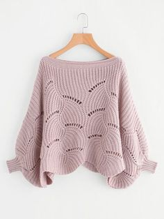 Loose Knit Scalloped Dolman Sweater -SheIn(Sheinside)