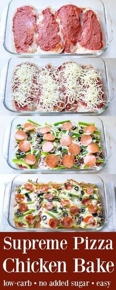 Baked chicken recipes - Supreme Pizza Chicken Bake Recipe Low Carb The Schmidty Wife No Calorie Foods, Low Calorie Recipes, Diet Recipes, Cooking Recipes, Healthy Recipes, Cooking Tips, Low Sugar Recipes, Recipies, Tasty Recipes For Dinner