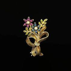 Flower Brooch Monet Floral Bouquet Vintage Rhinestone