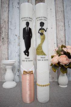 Lumanari de nunta cu mire si mireasa chic cu auriu Wedding Unity Candles, Candle Set, Vodka Bottle, Candles
