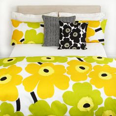 Unikko White/Lime Duvet Cover - Single