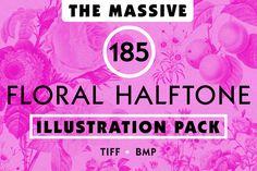 Floral Halftone Illustration Pack @creativework247