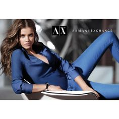 Armani Exchange Fall 2012 (also w/ model Natasha Barnard) ❤ liked on Polyvore featuring backgrounds, people, blue and fashion photos