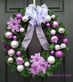 """Purple and Silver 18"""" Beautiful Christmas Wreath just in time for the holidays."""