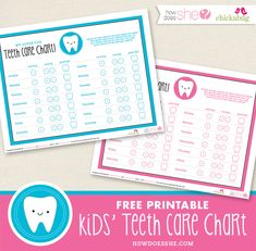 I have a cute and useful free printable for you today! A free printable kids' teeth care chart that will help motivate your child to brush and floss daily, and will help you keep track of their dental care. You have a choice of pink . Dental Care, Dental Hygiene, Tooth Chart, Charts For Kids, Teeth Care, Tooth Fairy, Healthy Habits, Teaching Kids, Free Printables