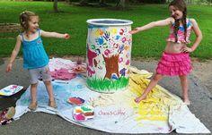 rain barrel art | Chaos and Coffee: Rain Barrel Art on a Sunshiny Day