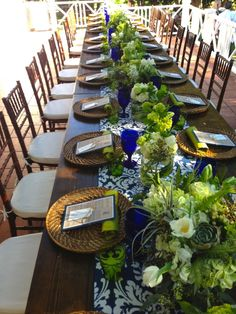 BZ events - blue and green tablescape - centerpiece outdoor wedding