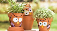 Peinture : des chouettes pots de fleurs