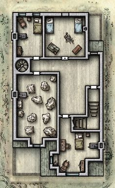 Virtual Tabletop, Tabletop Rpg, Tabletop Games, Large Houses, Dungeon Maps, D&d Dungeons And Dragons, Fantasy Map, Cartography, Minecraft
