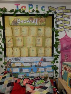 Topic display above the book corner seating. Vikings and Beowulf topic from term 1.