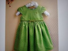 Pretty green cotton smocking frock for 2 - 3 yrs girl