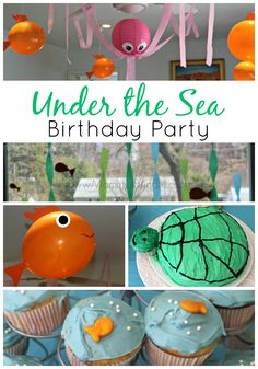 DIY Under the Sea or Ocean Party for Kids | Create a fun ocean birthday party for your child with these easy decorating tips and yummy food, appetizer and dessert recipe ideas (my favorite is the super cute cupcakes kids will adore!).