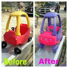 Cozy coupe makeover I did with spray paint & ductape!! I recommend the rustoleum ultra cover for plastics much better coverage than the other brands