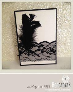 Wedding Invitation. Elegant black and white piece. #lace#feather#pearls www.facebook.com/RedCanvasInvitations