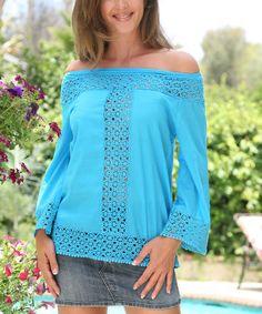 Turquoise Crochet Shirred Three-Quarter Sleeve Tunic - Women #zulily #zulilyfinds