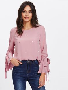 Pearl Embellished Bow Tied Bell Cuff Blouse -SheIn(Sheinside)