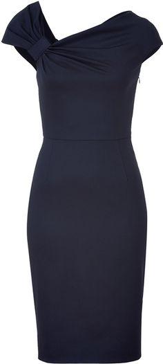 Dark Blue Classic Draped Dress - Lyst