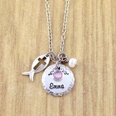 Girls Jesus Fish Symbol Necklace • Ichthys Necklace Personalized with Name & BIrthstone • Little Girl Necklace • You Choose The Charm