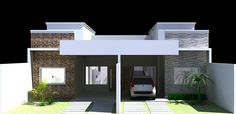 Fachada casa geminada, projeto Brígida Fernandes.
