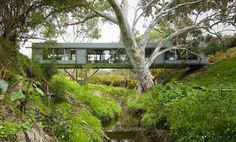 """Bridge House Australia by Max Pritchard Gunner Architects @maxpritchardgunnerarchitects (2008)..... """"An idyllic site of winter creek billabong large river red gums dense wattles and rocky banks called for a house that would 'touch the earth lightly'. The solution a narrow bridge like structure spanning the creek providing the experience of living amongst the trees in an almost untouched beautiful setting.""""  Photo  Sam Noonan 