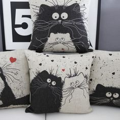 Cartoon Cat Lovers Cushions – MeowIsNow.com