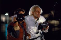 Michael J. Fox as Marty McFly & Christopher Lloyd as Doc Brown in #BackToTheFuture (1985).