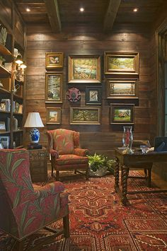 I love this for a library/den with a roaring fireplace. Wright Design in South Carolina.