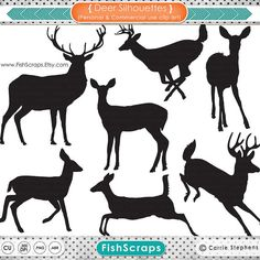 Deer Silhouettes  Outlines - Reindeer - Doe - Buck - Digital Graphics - Deer Clip Art - PNG Images and Photohshop Brushes - Christmas