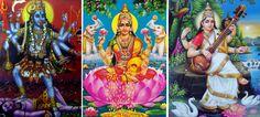 Kali, Lakshmi and Saraswati