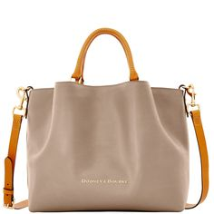 Soft pleats, rolled top handles and a structured shape adds ladylike chic, while… | Dooney & Bourke |   Brown | Brown Handbag | Brown Accessory | Brown Accessories | Brown Purse | Fashion | Style