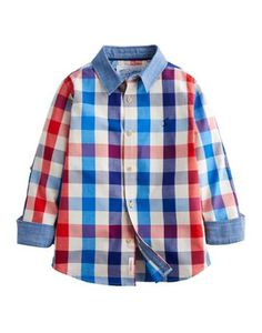 Joules Boys' Checked Shirt, Midnight Blue Gingham.