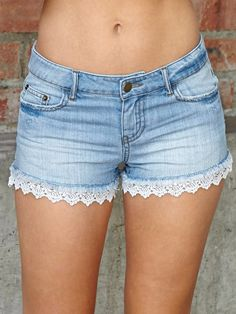 Blue Jean Shorts With Lace