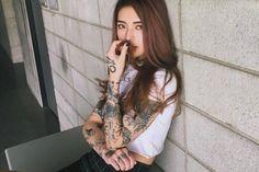 Ulzzang, Find Image, We Heart It, Tattoos, Selfie, Mirror, Tatuajes, Tattoo, Mirrors