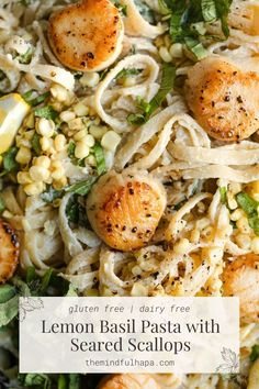 Light Pasta Sauce, Clean Eating, Healthy Eating, Healthy Food, Scallop Pasta, Dairy Free, Gluten Free, Basil Pasta, Basil Sauce