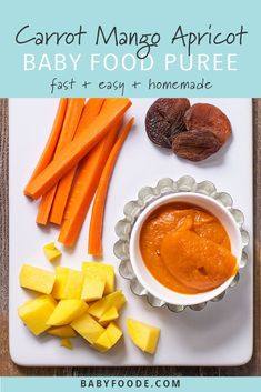 Celebrate fall with this bright orange Carrot + Mango + Apricot baby food puree. All of the orange produce provides your little pumpkin with a big dose of beta-carotene. This easy homemade puree will be devoured by your little one. Baby Puree Recipes, Pureed Food Recipes, Baby Food Recipes, Homemade Baby Puffs, Homemade Baby Snacks, Baby Food By Age, Making Baby Food, Healthy Baby Food, Baby First Foods