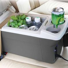 If you're planning to go on a long trip then you'd want to keep your drinks cool. This mini fridge plugs into your car's lighter socket and can hold up to 8 small cans. just stick to the pepsi! Refrigerator Cooler, Mini Fridge, Cool Car Gadgets, Coolest Gadgets, Portable Fridge, Volkswagen, Dont Drink And Drive, Gear Best, Cute Car Accessories