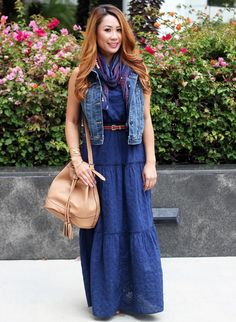 Long dress outfit ideas navy
