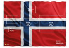 Norwegian Airlines used 'hidden' flags in the Norwegian flag to promote low fares to these destinations