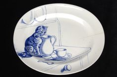 Minton bone china. Cat serving plate, blue on white, ca 1880s. Kingston Lacy, Dorset, England.
