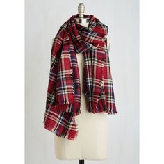 Chillin' Haute Scarf ($25) ❤ liked on Polyvore featuring accessories, scarves, red, winter scarf, tartan scarves, red scarves, red plaid scarves, red plaid shawl and knit shawl