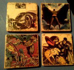 Tumbled tile Batman coasters...