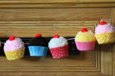 Bake Shop Yarn Cupcake Pom Pom  Garland by CupcakeWishesStore