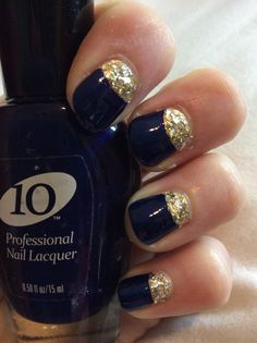 navy blue and gold halfmoon nails    uses reinforcement stickers (you can use notebook paper reinforcement stickers!)