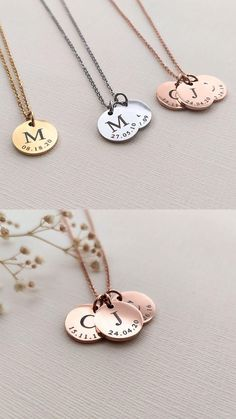 Personalised Necklaces, Personalized Jewelry, Jewelry Clasps, Diy Jewelry, Jewellery, Pop Tab Crafts, Matilda, Accesorios Casual, Disc Necklace