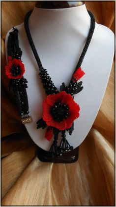 Set Beaded Red and Black necklace bracelet by BeadedJewelryVirunia
