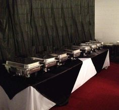 Black and White buffet table with black backdrop
