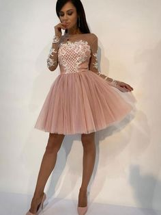 Pink Lace Tulle Short Prom Dress, Pink Evening Dress, on Luulla Long Sleeve Homecoming Dresses, Prom Dresses 2017, Prom Dresses Online, Short Dresses, Dress Long, Party Dresses, Formal Dresses, Pink Lace Shorts, Dresser