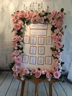 Large Ornate Frame Personal Table Plan Vintage Blush Pink Or Ivory Roses TO HIRE